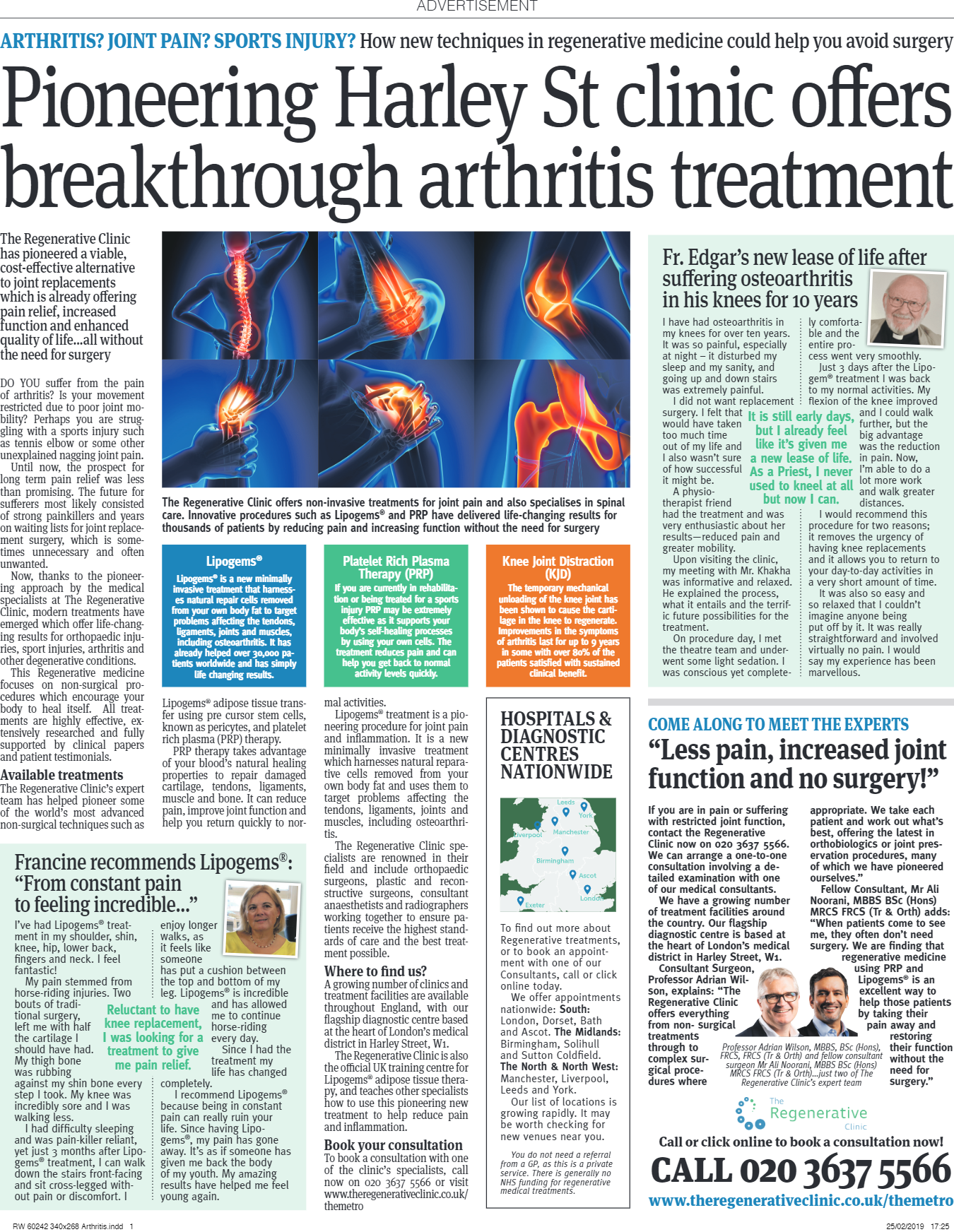 Pioneering Harley St clinic offers breakthrough arthritis treatment